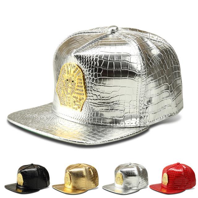 New Crocodile Grain liga Faraó boné de beisebol flat-abas largas chapéu decorado afluxo de homens e mulheres chapéu hip hop tampas de couro do plutônio