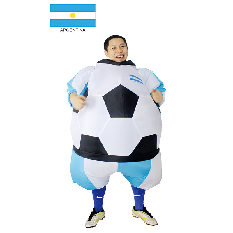 Argentina Inflatable Football Soccer Costume South America Football Player Outfit Party Club Fancy Dress Blow Up Carnival Suits