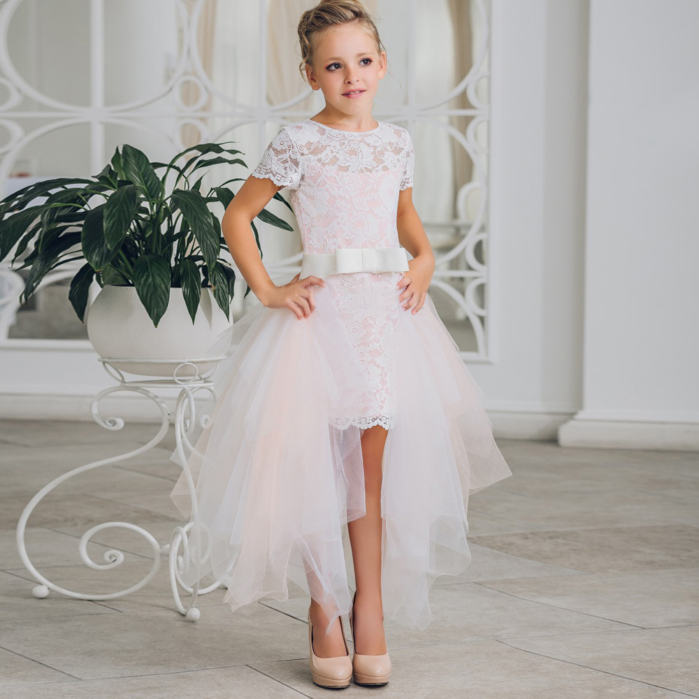 2017 New Arrival Flower Girl Dresses High Low Knee Length O-neck Short Sleeves Pink Pageant Communion Gown Vestidos Custom Made green grid v neck flared 3 4 length sleeves blouses
