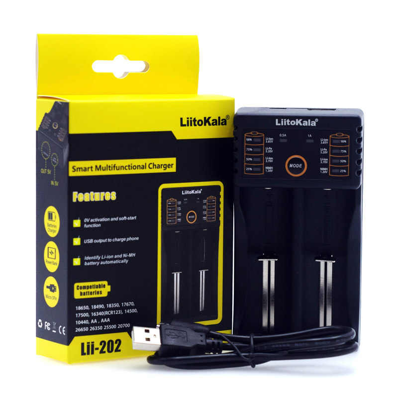 Liitokala Lii402/Lii-202/Lii-100/1.2 فولت/1.5 فولت/3.7 فولت 18650/26650/18350 /16340/18500/AA/AAA نيمه بطارية ليثيوم شاحن بطارية 5 فولت 2A التوصيل