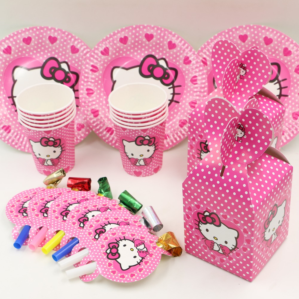 40pcs <font><b>hello</b></font> <font><b>kitty</b></font> kids favors and gift birthday <font><b>party</b></font> decoration plate&<font><b>cups</b></font>&candy box for 10people <font><b>party</b></font> supplies souvenir