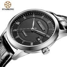 Starking hombres esqueleto de pulsera mecánico tourbillon analógico automático ginebra cuero genuino correa de reloj de la marca famosa am0187