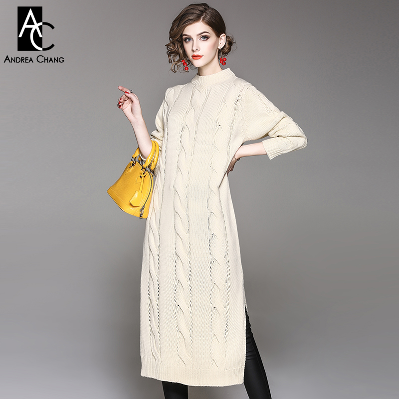 autumn winter woman dress calf length orange beige knitted dress side split bottom o-neck casual loose plus size knitted dress readit knitting dress 2017 winter woman dress dark blue wine red knitted dress calf length hollow out bottom casual dress d2558