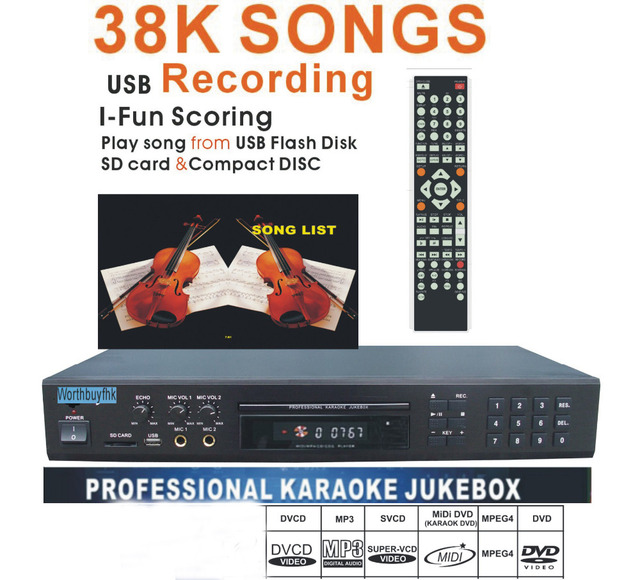 US $249 0  Factory Wholesale Karaoke Player/Recorder with 40k songs,Built  in 2 Mic Echo/DVD Device/USB /SD card Reader-in Home Theatre System from