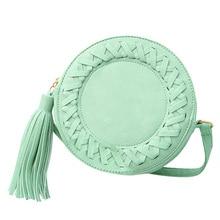 Мода круглый Для женщин кисточкой сумка тканые Crossbody сумки для Для женщин s сумка Дамы Симпатичные Вязание круговой Для женщин сумка