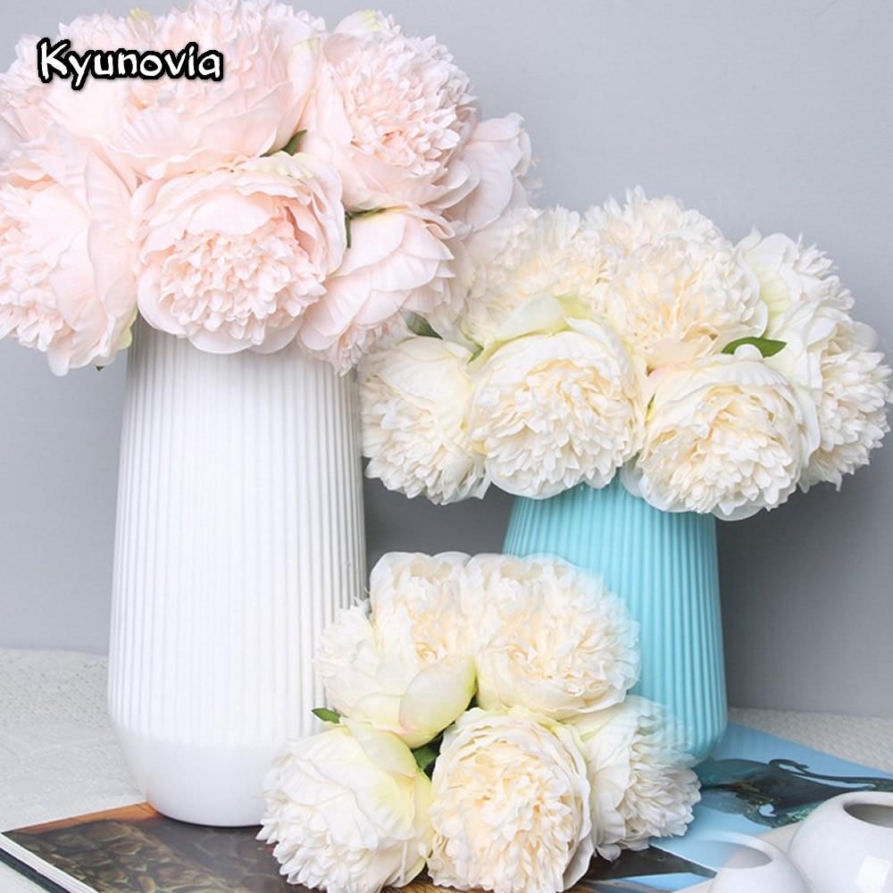 4 Blush SILK Hydrangea Roses Bridal Bouquets Wedding Party Centerpieces SALE