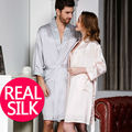 100% pure silk nightgowns Couples Robe Sets women Mens bathrobe Home CP SATIN SILK robe longue Summer style pajamas Kimono