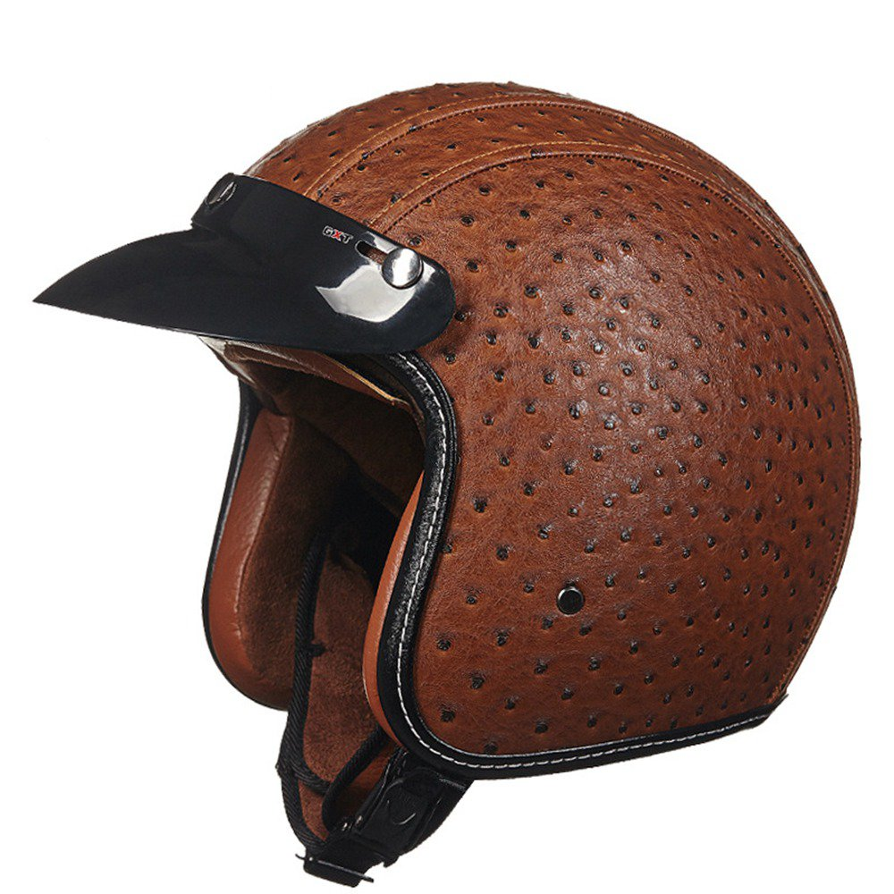 Face Open Motorcycle Helmet Vintage Motocross Helmets for Harley Motorbike Off Road Retro PU Leather Downhill Moto Accessories