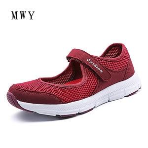 Image 3 - MWY קיץ אביב גבירותיי נעליים יומיומיות נשים סניקרס נעלי דירות Chaussure נעלי רשת לנשימה קל הנעל מותג מעצב