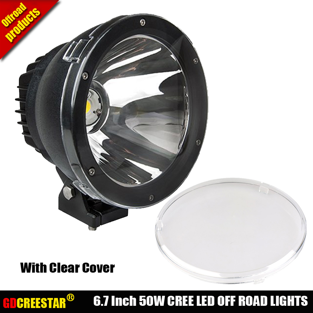 GDCREESTAR 6.7 Inch 50W Round Cannon LED Driving Lights 12V 24V Spotlights Narrow Beam 4x4 off road LED Cannon headlights x1pc