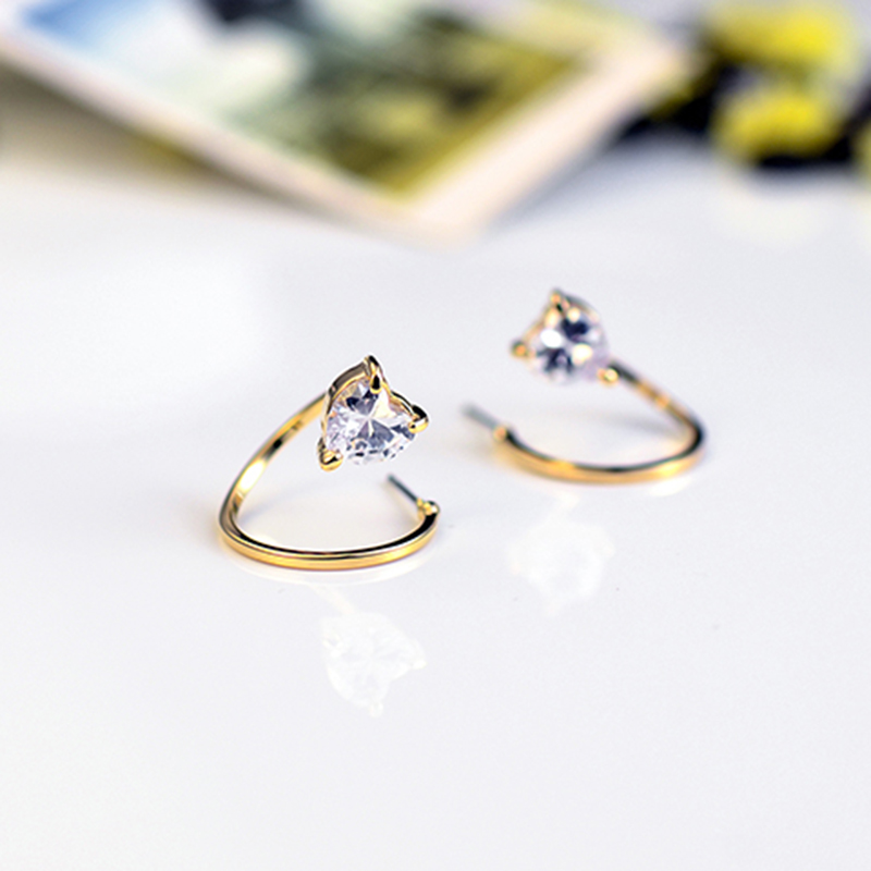Elegant Fashion Love Heart Design Top Grade Crystal Gold Plated ...