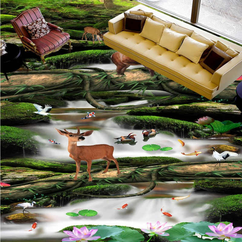 Free Shipping office park street dining room cafe decoration Forest water non-slip self-adhesive PVC floor mural high quality non timber forest products enterprise development