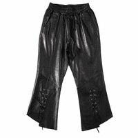 Европейский станция 2018 осень и зима новый Хейнинг кожа брюки клеш, Женский Овчина, тонкая кожа Штаны прилива.