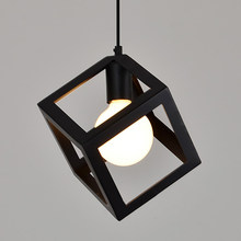 Hot DIY Creative Decorative Vintage Square Metal Pendant Light Bar Ceiling E27 Lamp with 1.5M Cord Black Home Desk Decorations(China)