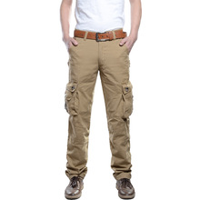 2 Styles Male Camo Jogger Pants Casual Mens Cargo Cotton Trousers with Multi Pocket Army Black Khaki