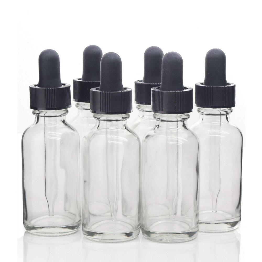 6pcs 1 Oz 30ml Plain Clear Glass E Liquid Bottle With Glass Eye Dropper Pipettes For Essential Oil Argan Oils Aromatherapy Empty