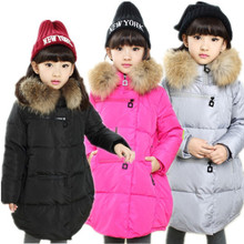 2016 Real Promotion Long Winter Jacket 3-12y Baby Girls Winter Coat Korean Padded Zipper Kids Jacket Coats Outwear For Children