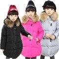 2016 de Promoción de Bienes 3-12y Niñas Bebés Abrigo de Invierno Larga Chaqueta de Invierno Acolchado Coreano Niños Cremallera Chaqueta Outwear Abrigos Para Niños