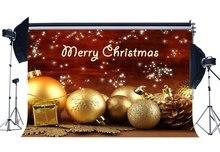 Fotografie Achtergrond Vrolijk Kerst Cadeaus Gouden Ballen Sneeuwvlokken Pijnboompitten Shining Stars Xmas Gelukkig Nieuwjaar Achtergrond
