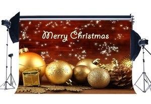 Image 1 - Fotografie Achtergrond Vrolijk Kerst Cadeaus Gouden Ballen Sneeuwvlokken Pijnboompitten Shining Stars Xmas Gelukkig Nieuwjaar Achtergrond