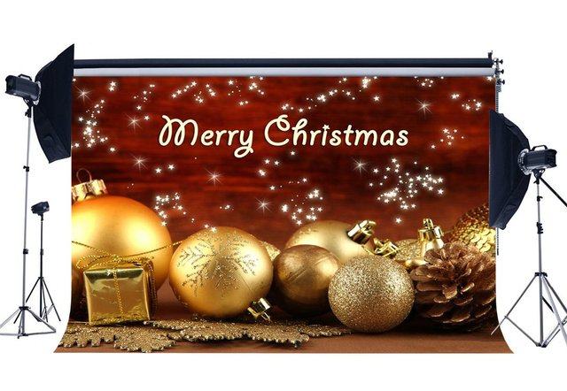 Photography Backdrop Merry Christmas Gifts Golden Balls Snowflakes Pine Nuts Shining Stars Xmas Happy New Year Background