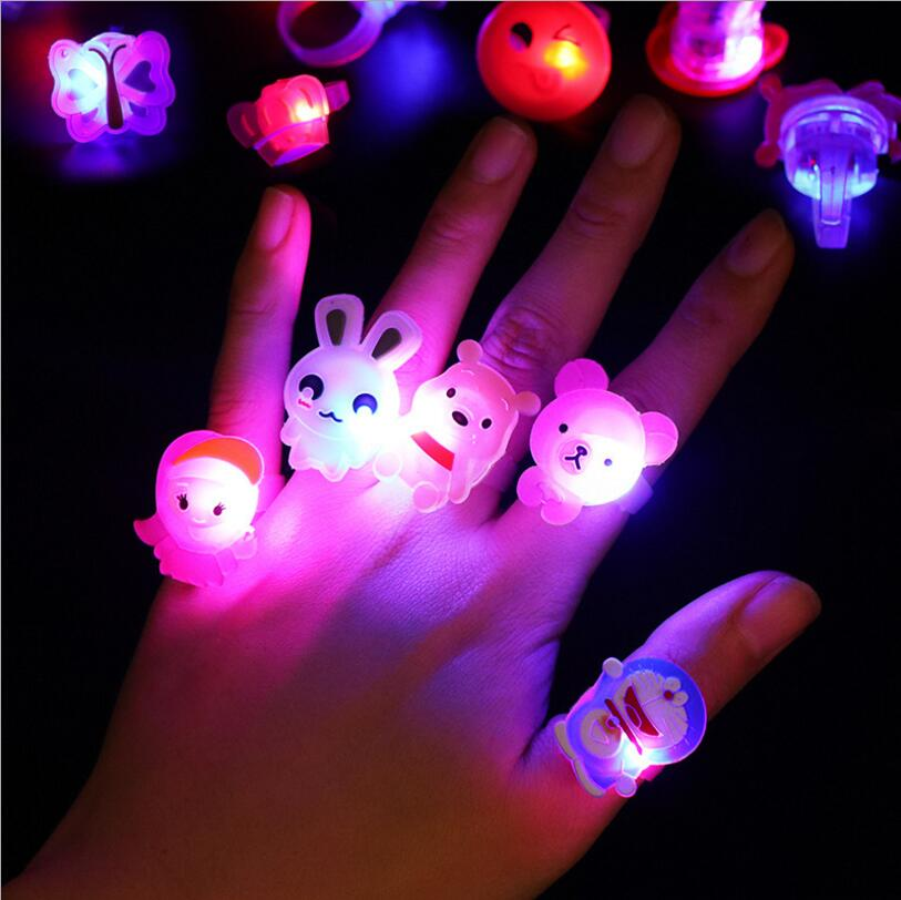5 pcs Luminous rings 2018 New childrens toys flash gifts cartoon LED lights glow in the  ...