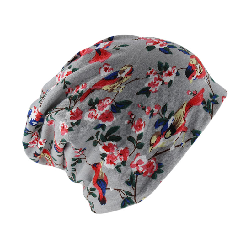 Miaoxi Beanies For Women Two Used Scarf Comfortable Fashion Female Skullies Cotton Hat Girls Floral Autumn Warm Caps Bonnet