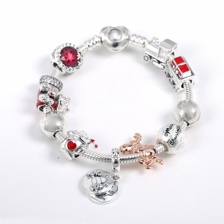 925 Sterling Silver Rose Reindeer Warm Christmas Train Christmas Bear Christmas Charm Set Bracelets for Women DIY Jewelry