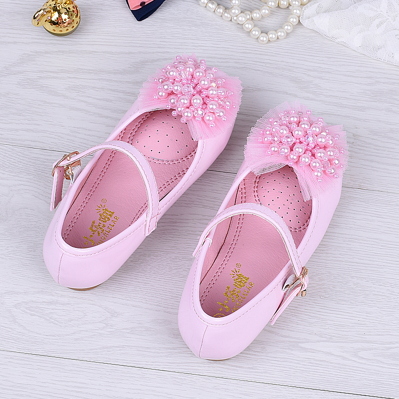 White Pink Girls PU Leather Shoes Size 24 35 Students Fashion Dress Shoes  Princess Dance Casual Footwear Kids Beaded Flat Shoes-in Sneakers from  Mother ... e4048b164426