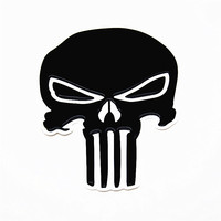 Punisher Skull 3D Black Sticker Personality Cool Car Motorcycle General Purpose Crystal Rubber Skeleton Badge Decal