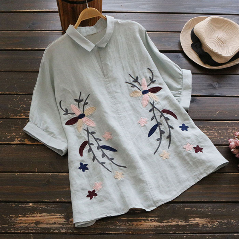 YSMILE Y Women Embroidery Shirt Summer Casual Turn-down Collar Short Sleeve Blouse All Purpose Casual Female Daily Clothes