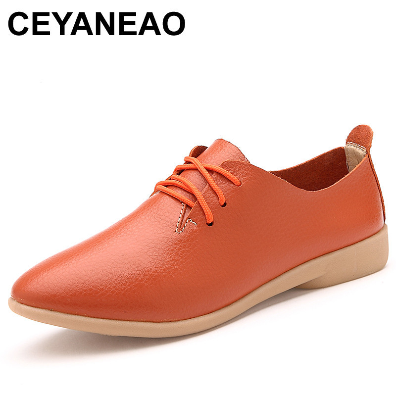 CEYANEAO Women's Shoes Loafers Flats Fashion Large-Size Casual Genuine-Leather Woman