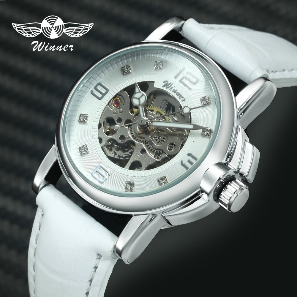 WINNER Top Brand Luxury Women Watches Auto Mechanical Watch White Leather Strap Diamond Decoration Skeleton Ladies WristwatchesWINNER Top Brand Luxury Women Watches Auto Mechanical Watch White Leather Strap Diamond Decoration Skeleton Ladies Wristwatches
