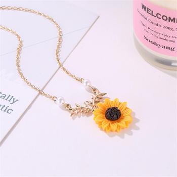 Chaîne avec Pendentif fleur de tournesol, Plaqué or, et argent 2