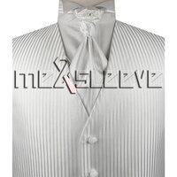 White Stripe Mens Tuxedo Vest And Ascot Tie Cufflink Handkerchief