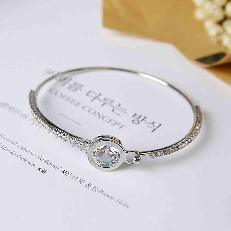 Europe And The United States Wild Shiny Crystal Round Zircon Bracelet Sweet Student Bracelet Jewelry Bracelet Female