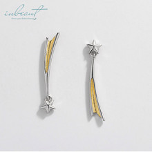 inbeaut Silver Meteor Shower Stud Earrings 925 Gold Literary Artistic Star Wedding for Women Korean Jewelry Teen Girls