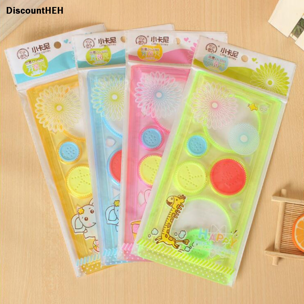Painting Multi-function Interesting Puzzle Spirograph Children Drawing Plastic Ruler Can Improve Start Work Ability 2018