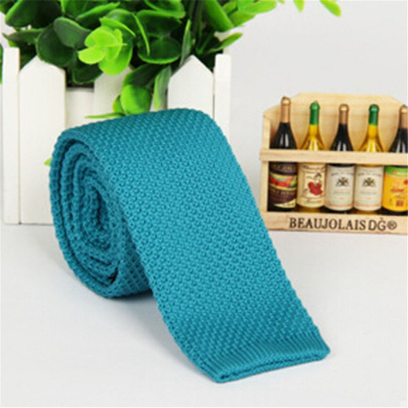 Men\'s Fashion Solid Tie Knit Knitted Tie Plain Necktie Narrow Slim Skinny Woven Tie