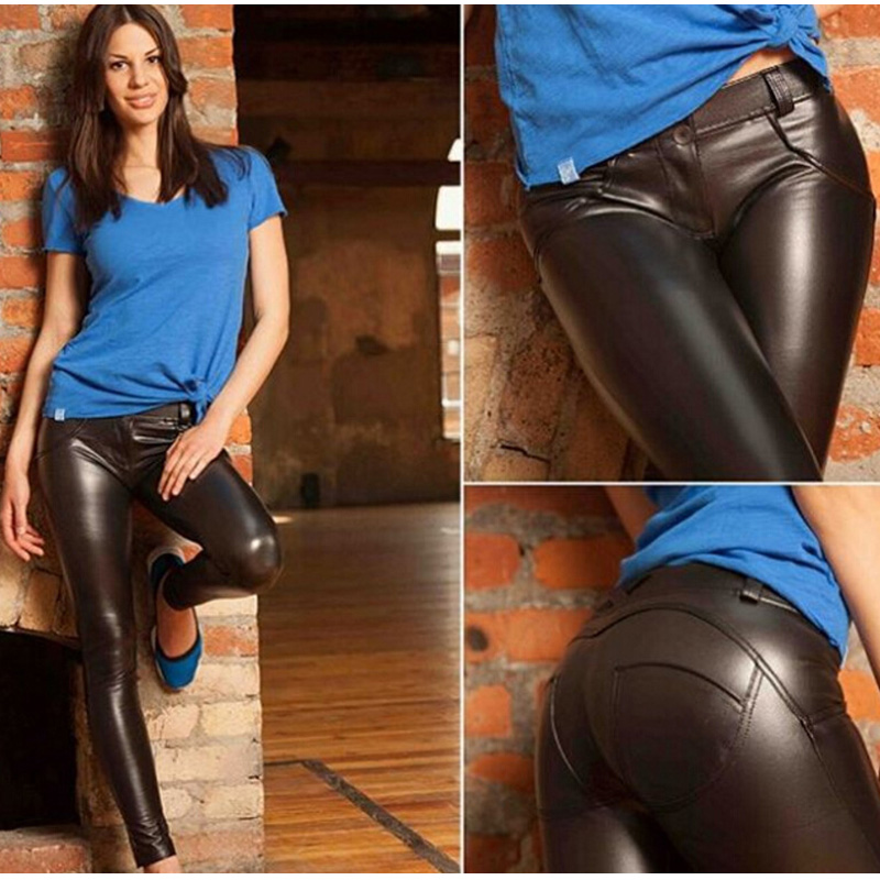 PU Faux Leather Lift Hip Women's Pencil Pants Leggings Stretch Bodycon Sweatpants Womens Moto Biker Trousers For Women S-3XL