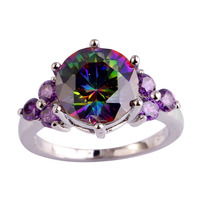 lingmei Wholesale Mysterious Rainbow Topaz & Amethyst Silver Ring Size 6 7 8 9 10 11 12 Fashion New Jewelry Free Shipping