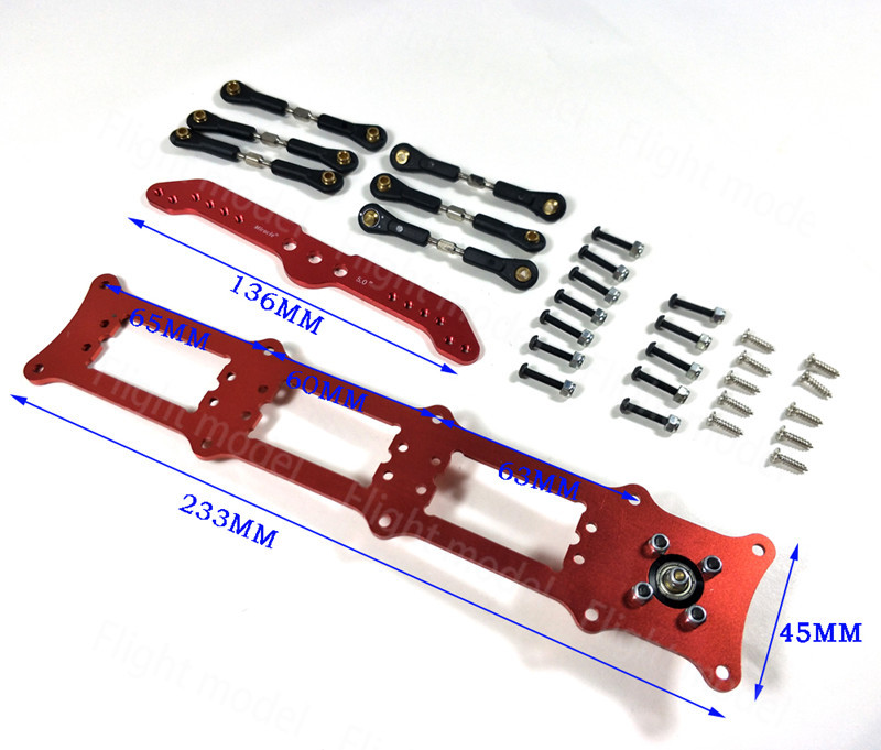 Aluminum Alloy Servo Rudders Mount Rudder Tray Set with 5 inch Double Servo Arm For 3 Servo 25t cnc aluminum alloy servo arm blue