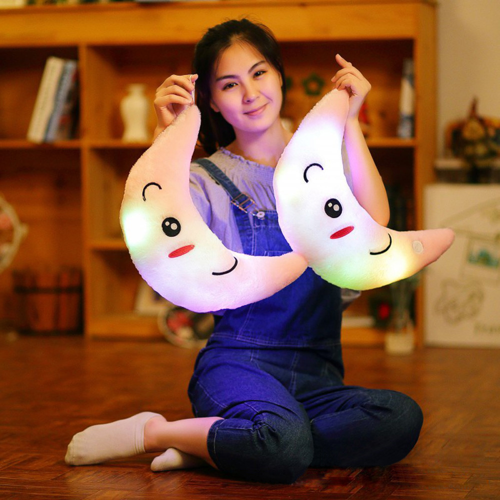 New arrivals Cute Design Moon Glow LED Pillow Light Soft Cushion Gift Home Plush Children gift best deal b# dropshipping
