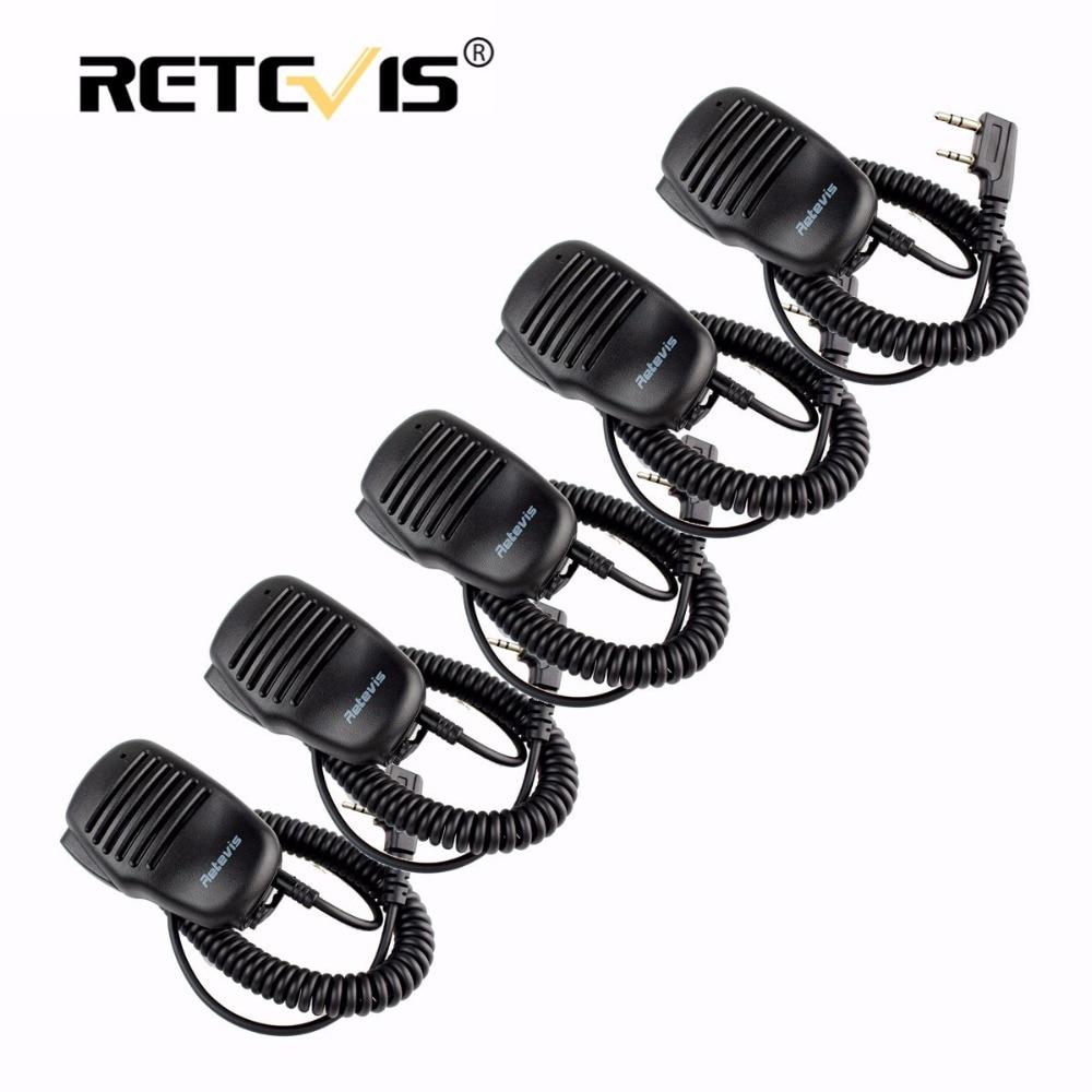 5 stücke lautsprechermikrofon 2pin ptt mic walkie-talkie zubehör für baofeng uv5r bf-888s retevis rt5r h777 rt7 für kenwood