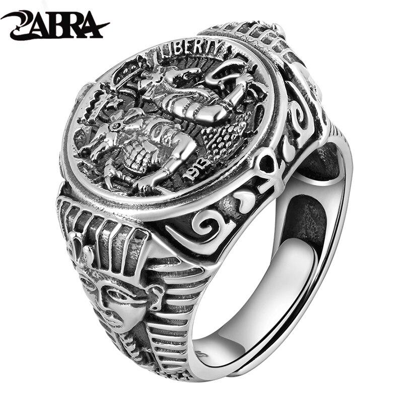 ZABRA Готический Египет Фараон Tutankhamun Настоящее 925 пробы серебряные кольца для мужчин изменение размера Регулируемый Винтаж Панк ювелирн