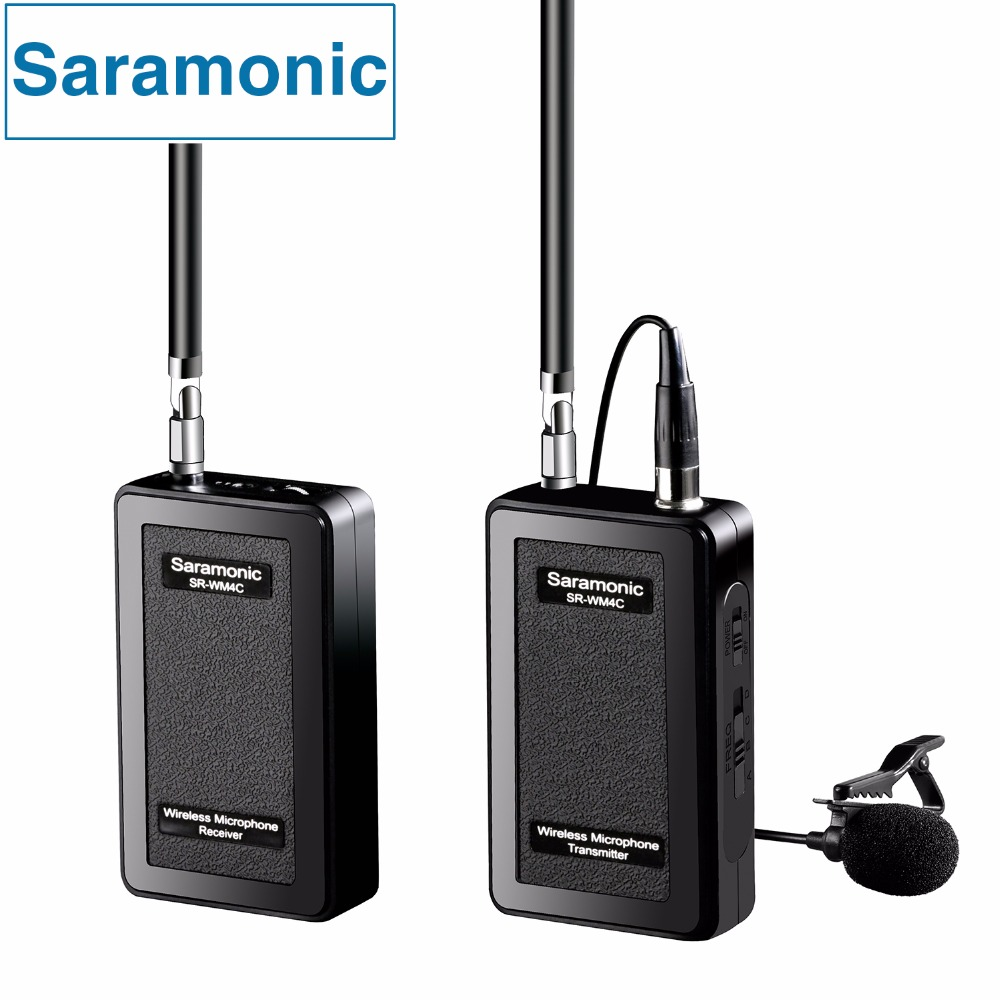 Saramonic 4 Channel VHF Wireless Lavalier Microphone System with Real Time Monitor for Canon Nikon Sony