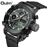 OULM Military Digital Dual Time Watch Men Leather Strap Chronograph Calendar Alarm Waterproof LED Electronic Wrist Watches 2019
