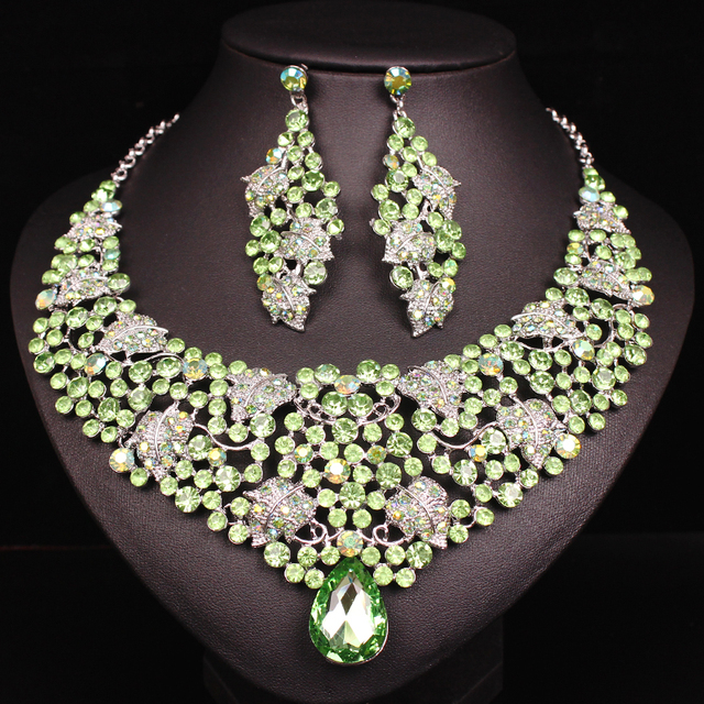New Luxury Rhinestone Necklace Earrings Sets Indian Bridal Jewelry Sets  Green Leaves Wedding Costume Jewellery for Women 2019 0a1d79410c0a