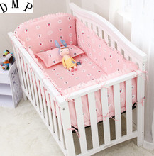 Promotion! 6PCS cot bedding set, cradle bedding,cute pattern,100% cotton baby bedding sets (bumper+sheet+pillow cover)
