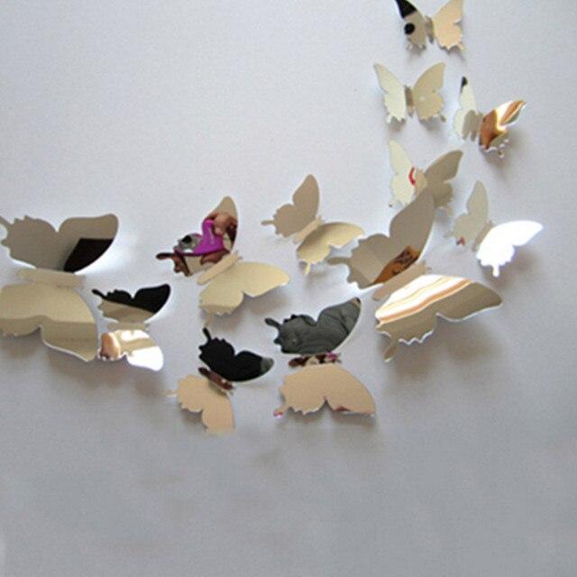 12 pc/lot Stickers muraux décalcomanie 3D papillon miroir Sticker ...